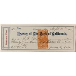 Virginia City check signed by James Fair, made out to Fair, w/ revenue stamp