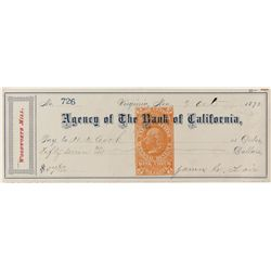 Woodworth Mill, Virginia City Check w/ Fair signature
