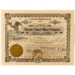 Nevada United Mines Co. Stock Certificate