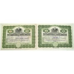 Getchell Mine Stock Certificates, signed by George Wingfield and Noble Getchell