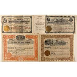 Four Rare Nevada Mining Stock Certificates
