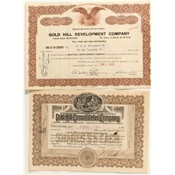 Gold Hill Stock Certificate Pair
