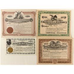 Nevada Stock Certificates Quartet