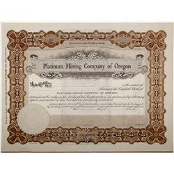 Platinum Mining Co. of Oregon Stock Certificate