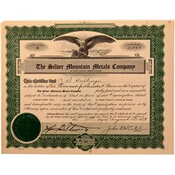 Silver Mountain Metals Company Stock Certificate