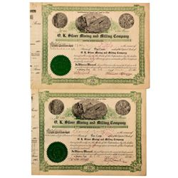 O.K. Silver Mining and Milling Company Stock Certificates