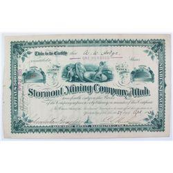 Stormont Mining Company of Utah Stock Certificate *Territorial*