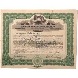 Toroda Mines Corporation Stock Certificate