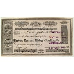 Eastern Montana Mining and Smelting Company Stock, Wyoming Territory