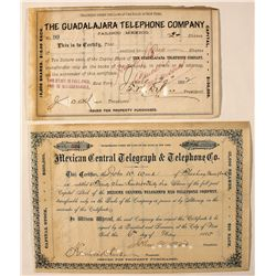 Mexico Telephone Stock Certificates