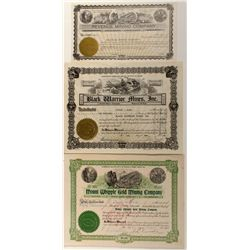Nevada, Idaho & Arizona Stock Certificates Trio