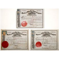 Trio of Mobile & Ohio Rail Road Co. Stock Certificates w/ Stamps and Three Different Presidents