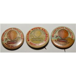 Pacific Electric Railway Balloon Route Excursion Trolley Trip Advertising Pins Group