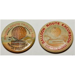 Pacific Electric Railway Balloon Route Excursion Trolley Trip Advertising Pins Group 2