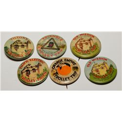 Pacific Electric Railway Trolley Trip Advertising Pins Group