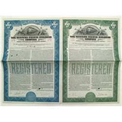 Set of 2 Western Pacific Railroad Bonds, 1939 and 1945