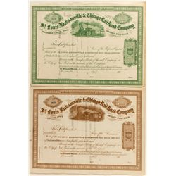 St. Louis, Jacksonville & Chicago Rail Road Co. Stock Certificate Pair