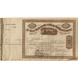St. Louis, Jacksonville, and Chicago Railroad Co. Stock Certificates Signed