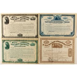 St. Louis, Jacksonville, and Chicago Railroad Co. Stock Certificates, Signed Varieties