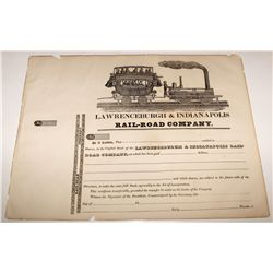 Early Lawrenceburgh & Indianapolis Rail-road Co. Stock Certificate w/ great vignette