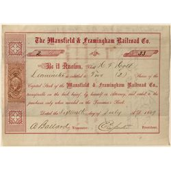 Mansfield & Framingham Railroad Co. Stock Certificate w/ revenue