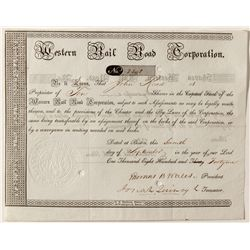 Western Rail Road Corporation signed by Josiah Quincy