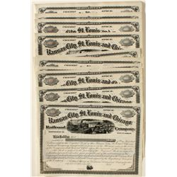 Kansas City, St. Louis and Chicago Railroad Co. Stock Certificate Large Group