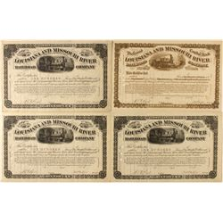 Trio of Louisiana and Missouri River Railroad Co. Stock Certificates