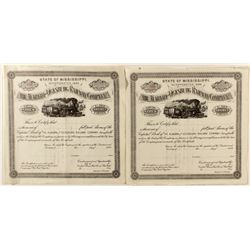 Alabama and Vicksburg Railway Co. Stock Certificates