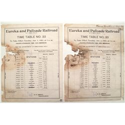 Eureka and Palisade 1901 original time table