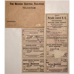 Nevada Central railroad tickets