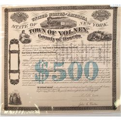 Bond: Town of Volney, NY--in aid of New York & Oswego Midland Rail Road (New York)