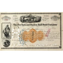 New York and Harlem Rail Road Co. Stock Certificate w/ Vanderbilt Signature and Revenue Imprint