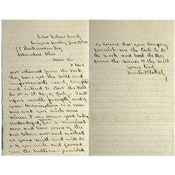 Cerbat, Arizona Mining Letter, 1881: Unusual as woman seems to be running mine