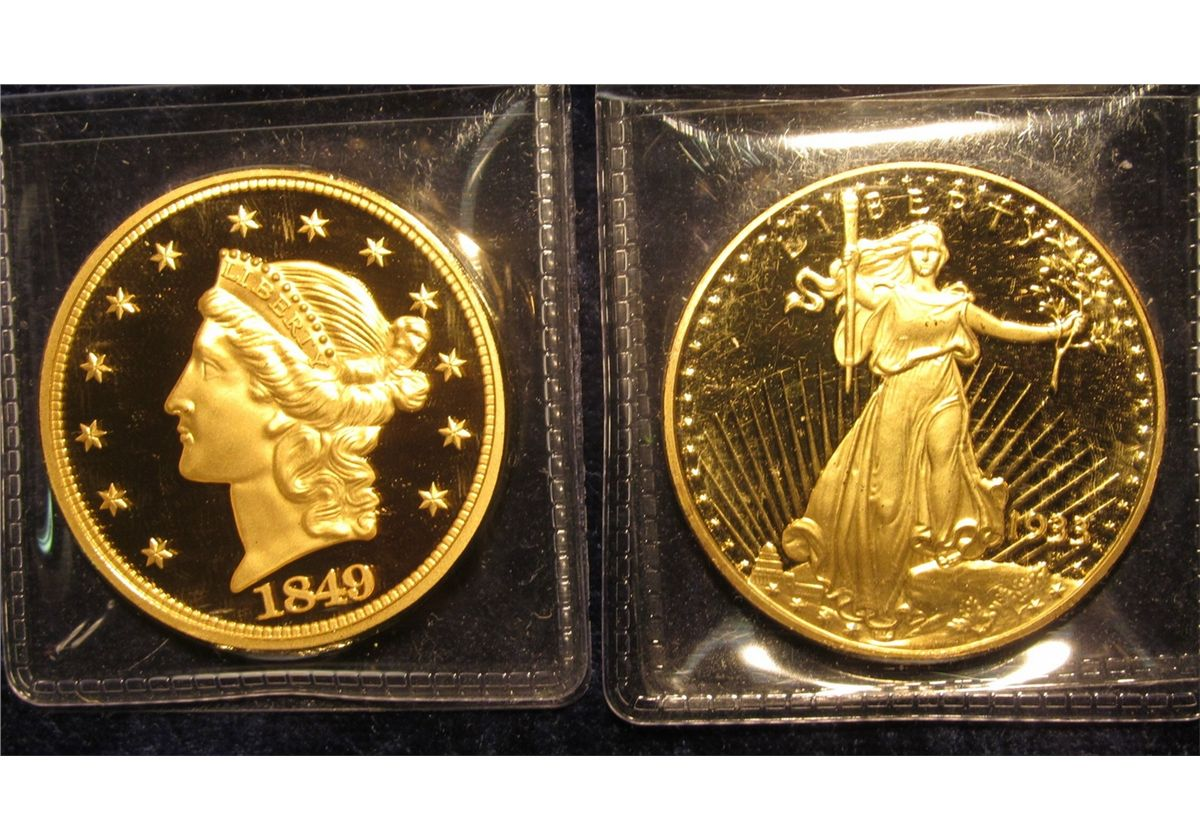 1542  2 replica gold-plated copies of classic $20 US gold coins, the first  (1849 Liberty Head) & th