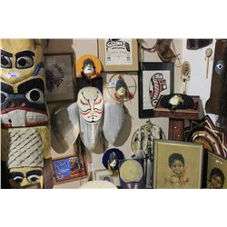ASSORTED NATIVE AMERICAN ART, MASKS & ITEMS