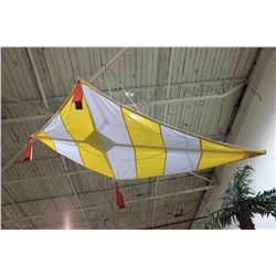 LARGE FABRIC YELLOW & WHITE KITE