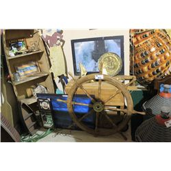 MOBILE TEAK BAR, WOODEN SHIPS WHEEL, ROW BOAT SHELF & ASSORTED NAUTICAL PICTURES & ITEMS