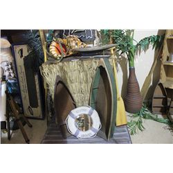 SMALL TIKI BAR, 2 DISPLAY BOATS, LARGE SHELL, MIRROR, PADDLES, 2 PALM TREES & 3 NAUTICAL SIGNS