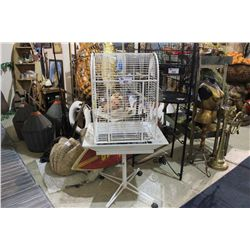 WHITE ANTIQUE BIRD CAGE