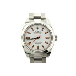WATCH: [1] Men's St. Steel Rolex O.P. Milgauss wristwatch; white dial w/ orange stick markers; polis