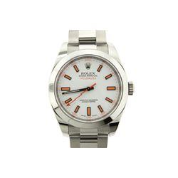 WATCH: [1] Men's St. Steel Rolex O.P. Milgauss wristwatch; white dial w/ orange stick markers; polis
