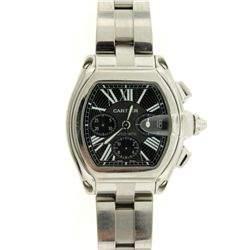 WATCH: [1] Men's (large) St. Steel Cartier Roadster chronograph wristwatch; black dial w/ 3 black su