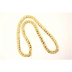 CHAIN: [1] 18kyg (tested) Cuban link chain necklace 24 1/2'' long x 11mm wide. No clasp. Solid const