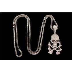 NECKLACE:  [1] 10KWG Franco chain, 4.0mms in diameter, 40 ''s, 45.0 grams; and [1] 14KWG skull and c