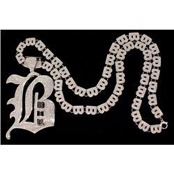 CHAIN & PENDANT:  [1] 14KWG 34 inch ''B'' link chain pave' set with round diamonds,  TWA 17.70 cts.,