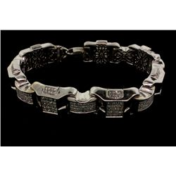 BRACELET:  [1] 14KWG 10'' fancy link bracelet set with 487 princess cut diamonds, TWA 29.25 cts., H-