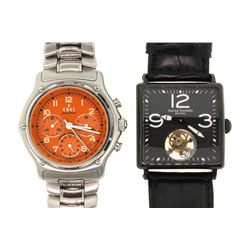 WATCH: [1] Men's St. Steel Ebel 1911 chronograph wristwatch; 40.0mm case; orange dial w/ 3 sub-dials