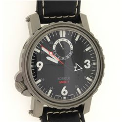 WATCH: [1] Men's titanium Kobold SMG-1 wristwatch; 43.2mm round case; black dial w/ lumin stick-Arab