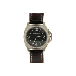 WATCH: [1] Men's titanium Panerai Luminor wristwatch; 43.5mm case; black dial; dark brown crocodile